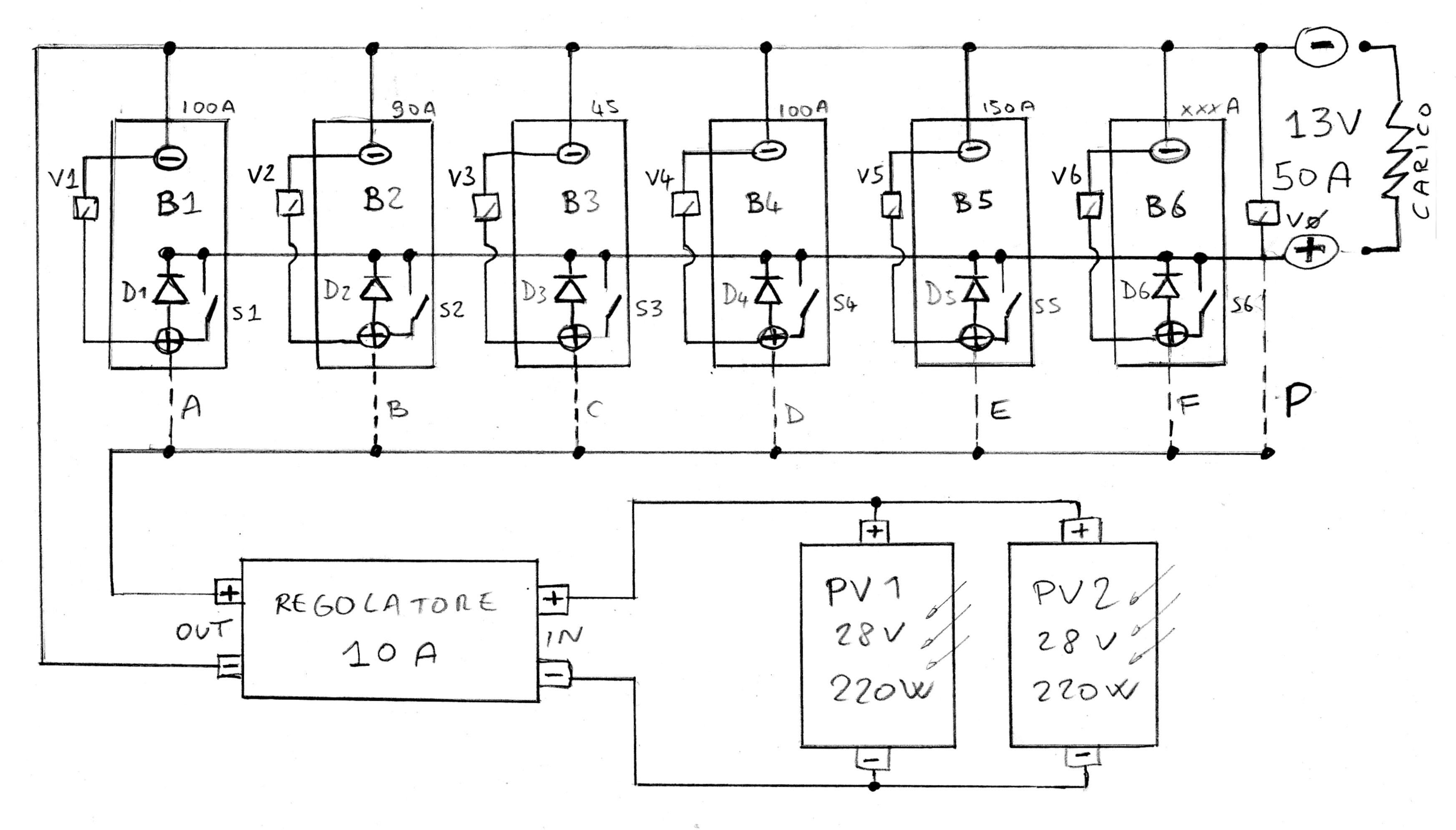 Schema Elettrico Lavatrice : Impianto a pannelli solari e batterie